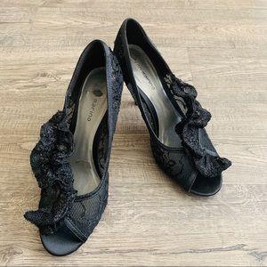 Black Ann Marino Laced heels 9.5 Classy
